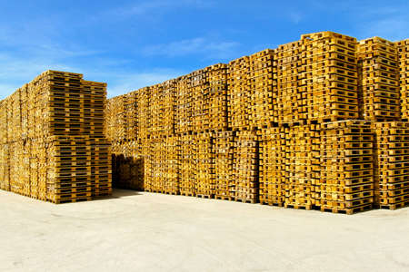 euro pallet: Wooden pallets for cargo and logistic at storehouse
