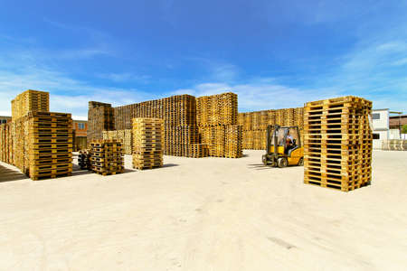 Forklift operator in pallet warehouse on the open Stock Photo - 8474855