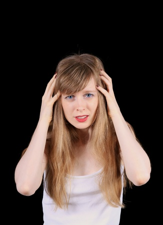 Devastated young women struggling with headache pain photo