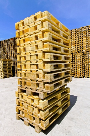 euro pallet: Big stack of wooden pallets at warehouse  Stock Photo