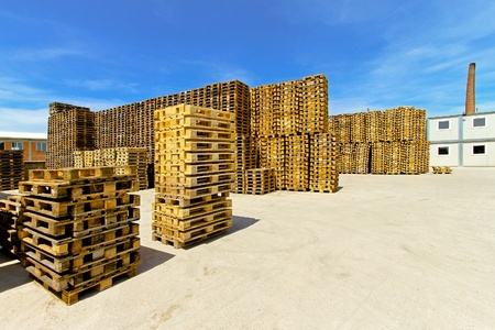 euro pallet: Pallets stacks for cargo and logistic at warehouse