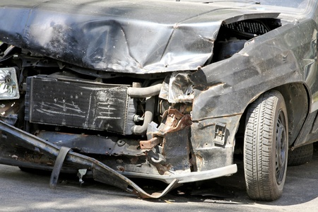 Serious traffic accident with car front collision  photo