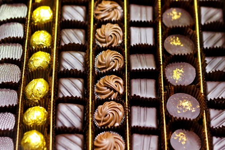 pralines: Big box of luxury chocolate assortment treat