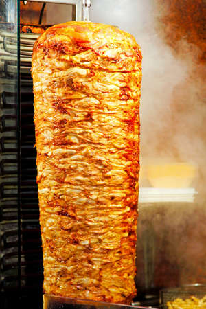 turkish kebab: Traditional oriental cuisine giros meat at grill
