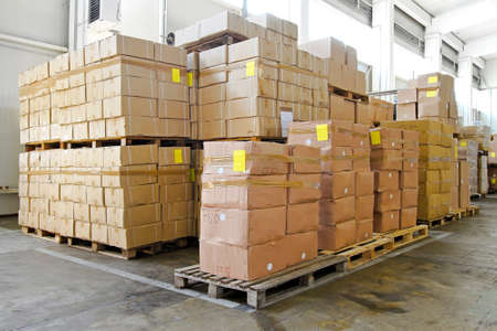 storage box: Big pile of boxes in distribution warehouse
