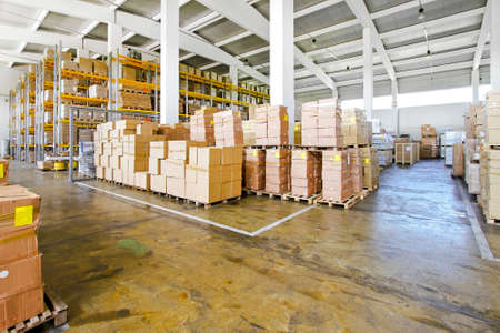 storage box: Interior of big warehouse with lot of boxes  Stock Photo