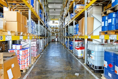 Storehouse corridor with goods and supplies at shelves Stock Photo - 8602475
