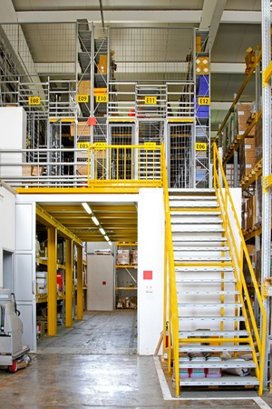 Warehouse interior with safety cage rooms  photo
