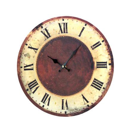 vintage objects: Retro grunge clock isolated Stock Photo