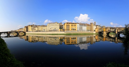 Panorama of Florence ant two bridges at Arno river  photo