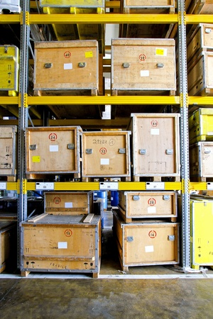 Wooden crates at shelf in museum warehouse Stock Photo - 8722160