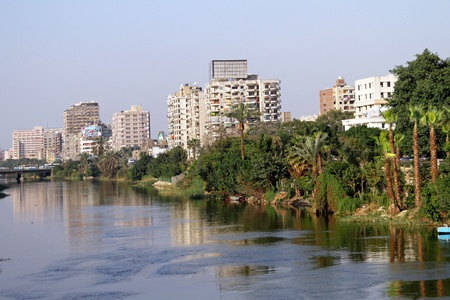 nile: CAIRO, EGYPT - MARCH 01: Nile river in Cairo on MARCH 01, 2010.  Nile river from Rhoda island in Cairo, Egypt.