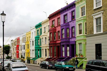 LONDON, ENGLAND, UK - AUGUST 02: Portobello in London on AUGUST 02, 2008. Colourful houses at Portobello in London, England, UK.