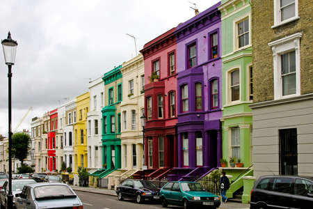 london street: LONDON, ENGLAND, UK - AUGUST 02: Portobello in London on AUGUST 02, 2008. Colourful houses at Portobello in London, England, UK.