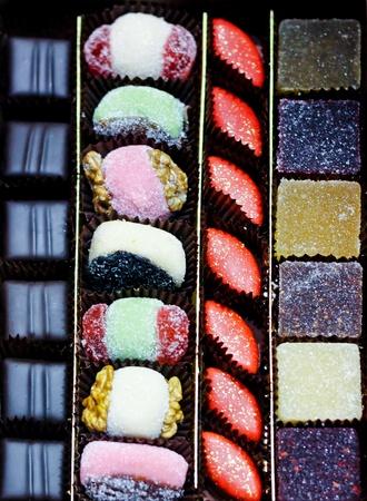 Big box of marzipan and chocolate pralines  photo