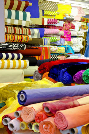 Textile fabric rolls for fashion clothing industry  Stock Photo