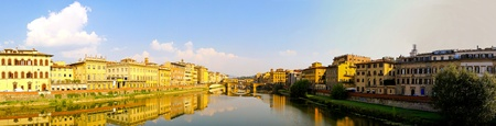 Panorama of Arno river in Florence at sunny day  photo