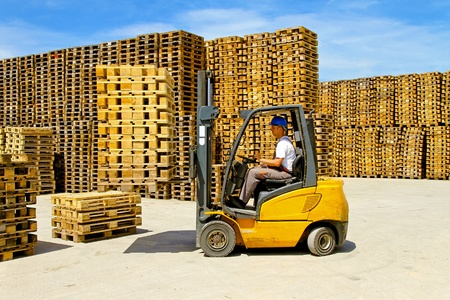 Forklift operator handling wooden pallets in warehouse  Stock Photo - 8906065