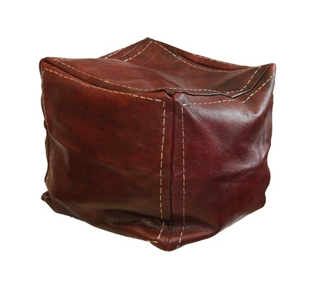 pouf: Retro leather hassock isolated