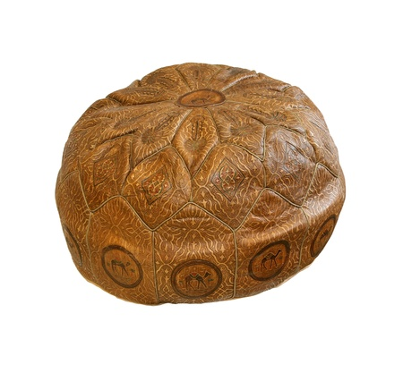 pouf: Retro leather ottoman isolated  Stock Photo