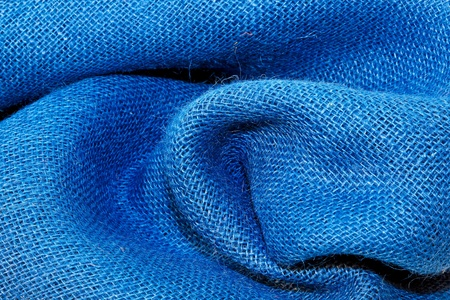jute texture: Close up shot of wrinkled blue cloth  Stock Photo