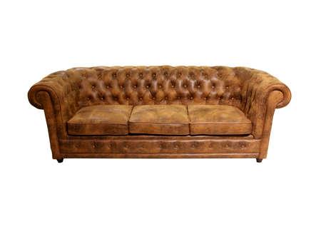 brown leather sofa: Vecchio classico divano