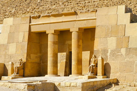 Ancient temple entrance with pillars in Egypt  photo