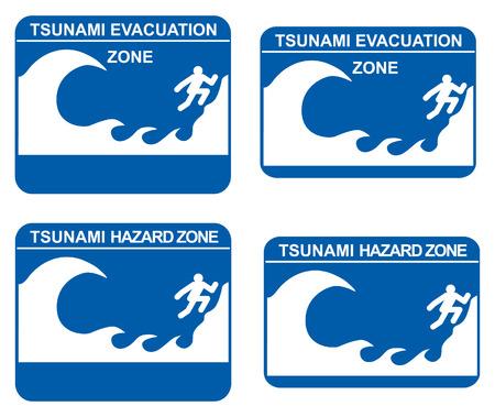 sea disaster: Tsunami warning signs showing evacuation and hazard zones Illustration