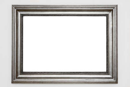 silver: Silver photo frame isolated at white wall