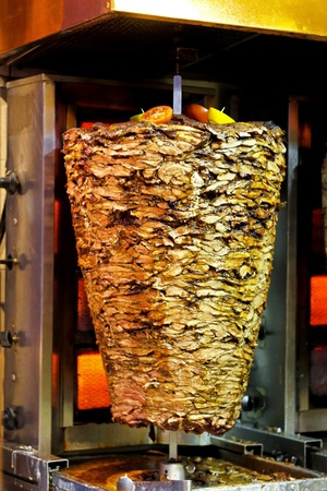 turkish kebab: Traditional Greek cuisine gyros meat at grill
