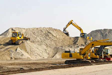 industrial machinery: Heavy machinery equipment at road construction site  Stock Photo