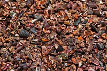 Bunch of raw organic crushed cocoa nibs  photo