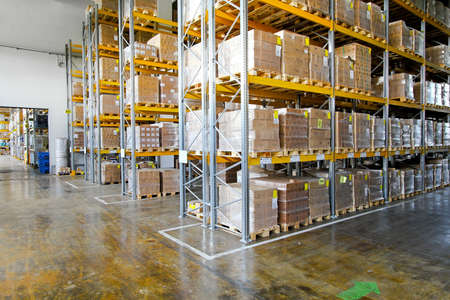 shelving: Boxes in modern logistic distribution storehouse interior
