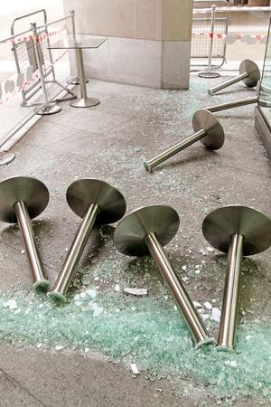 sabotage: Big pile of broken glass after hooliganism damage