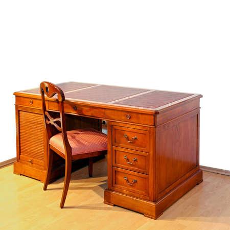 muebles antiguos: Madera muy antiguo escritorio con silla
