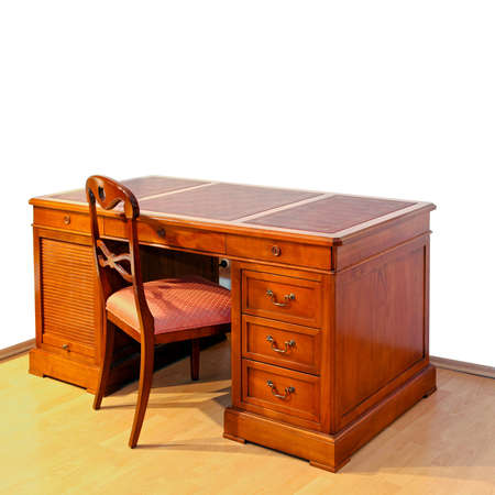 antique furniture: Very old wooden work desk with chair
