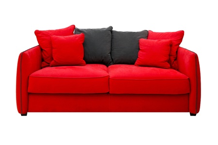 Red sofa with pillows isolated included clipping path  photo