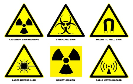 Set of official international hazard warning signs Stock Vector - 9237626
