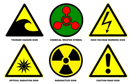 chemical weapon sign: Set of official international hazard warning signs