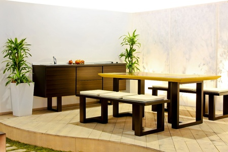 Summer kitchen and dining table at terrace  photo