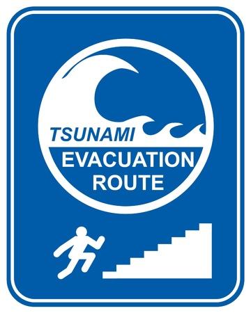climbing stairs: Allarme tsunami le indicazioni di rotta di evacuazione visualizzando le indicazioni per i pedoni salire le scale