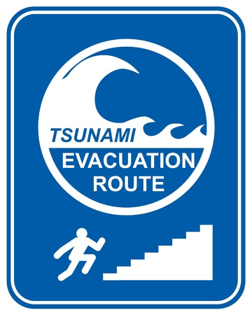 evacuation: Tsunami warning signs showing evacuation route directions for pedestrians climbing stairs