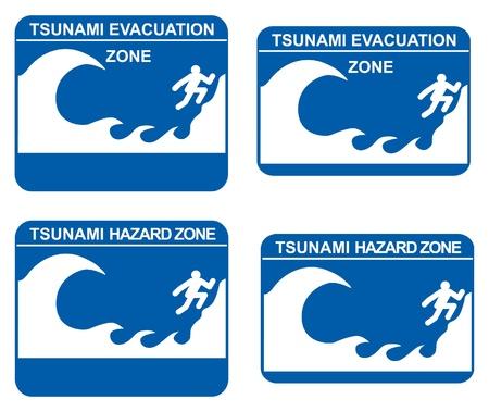 Tsunami warning signs showing evacuation and hazard zones Stock Vector - 9335030