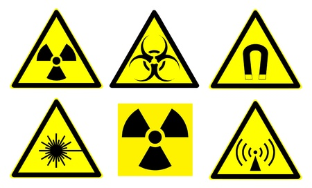 magnetic: Set of official international hazard warning signs