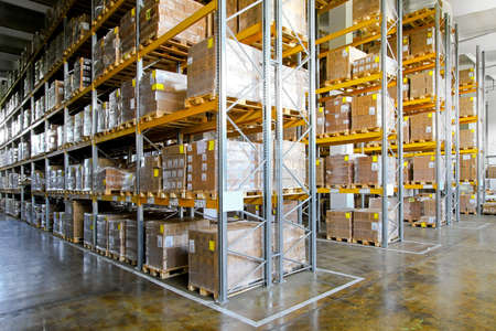 storage box: Shelves and racks in distribution storehouse interior  Stock Photo