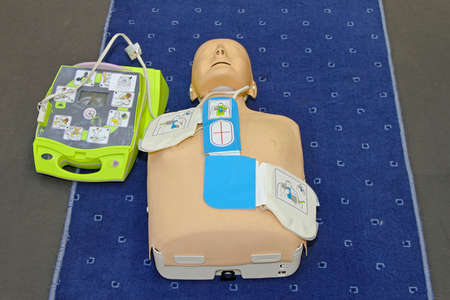 Automated External Defibrillator with training dummy mannequin Stock Photo - 9492792