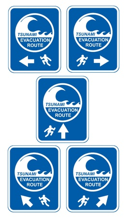 Tsunami warning signs showing evacuation route directions for pedestrians Stock Vector - 9492738