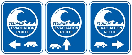 Tsunami warning signs showing evacuation route directions for vehicles Stock Vector - 9492736