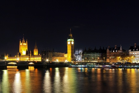 thames: Big Ben Tower and Westminster Bridge at Thames River