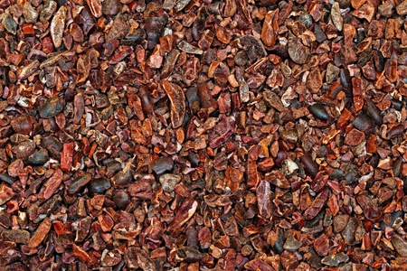 Bunch of raw organic crushed cocoa nibs  photo